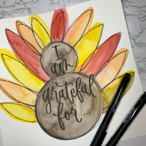 Watercolor Turkey with Thanksgiving Hand Lettering and Pitt Artist Pens