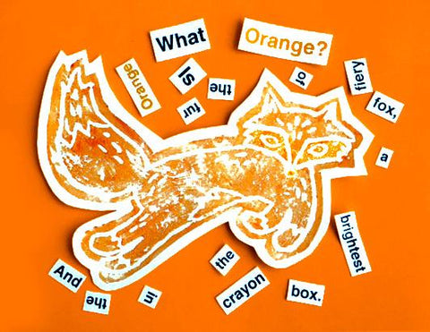 Paint stamped fox with cut out text