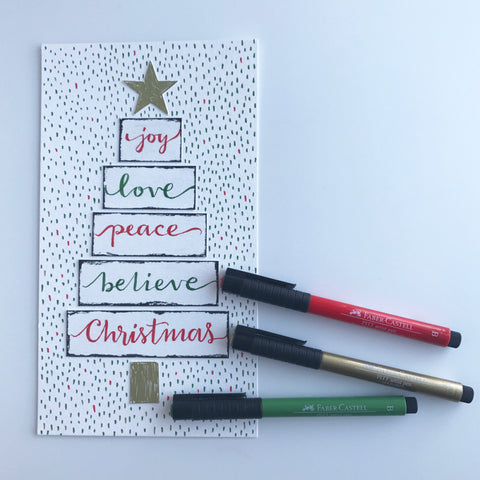 Hand lettered holiday art and Pitt Artist Pens