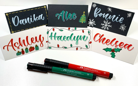 Hand Lettered Holiday Place Cards and Pitt Artist Pens
