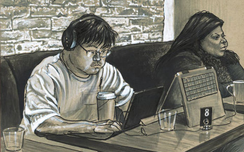 Drawing of man on laptop with highlights on him