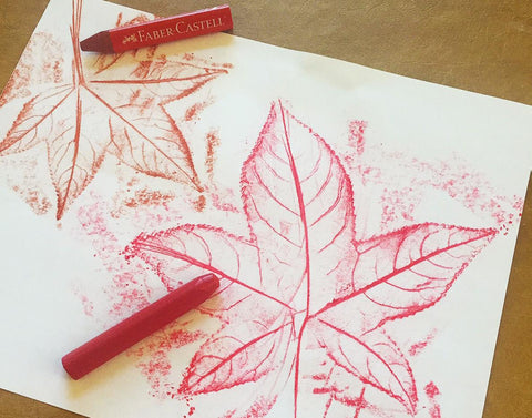 Leaf rubbings with crayon