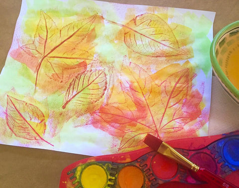 Watercolor on leaf rubbings and Connector Paint