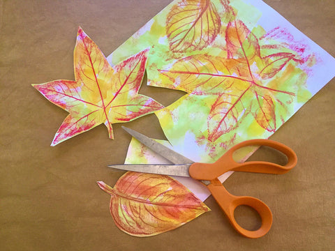 Watercolor leaves cut out with scissors