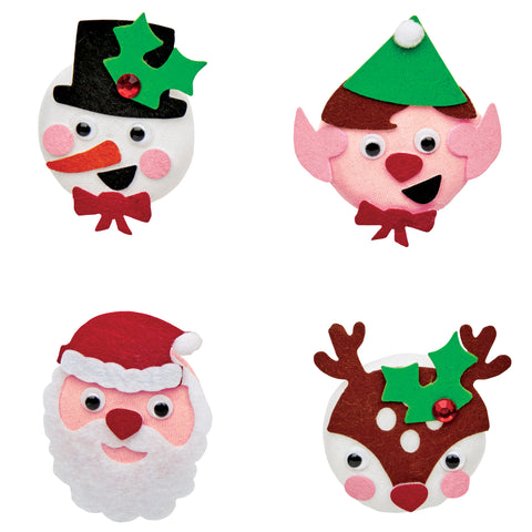 Holiday Buttons Mini Kit: snowman, elf, Santa, and reindeer