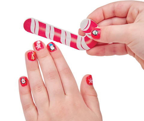 Holiday Nail Art Nails with candy cane shaped file
