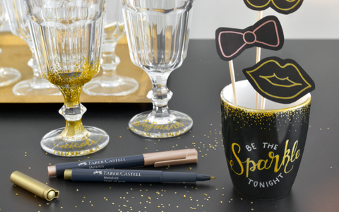 Custom Labeled Drink ware with Metallic Markers