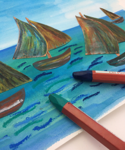 Construction paper boats and oil pastels