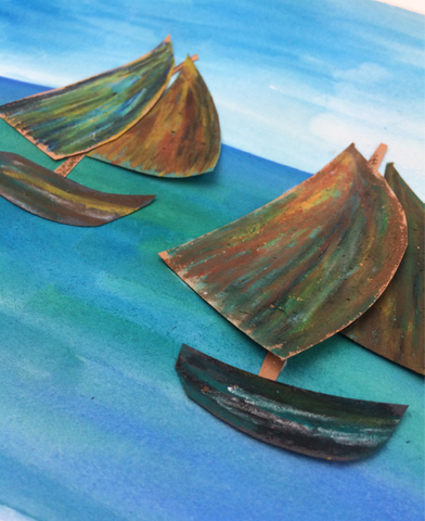 Construction paper boats and watercolor background