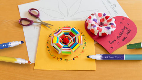 Paper flower on Mother's Day card