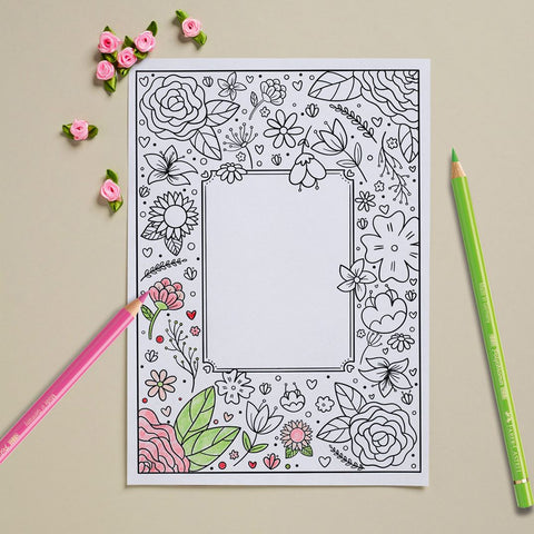 Mothers Day card coloring page with pencils