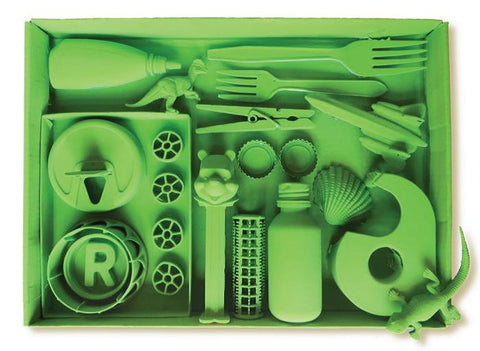 Random objects painted green in box lid