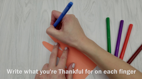 Marker Writing What You're Thankful for on Each Finger