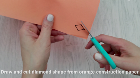 Cut Diamond Shape from Construction Paper for Beak