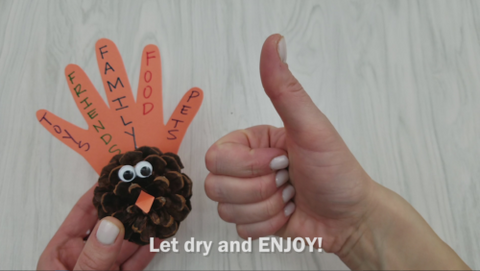 Pinecone Turkey Craft and Thumbs Up