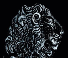 Pointillism Lion Made with the White Pitt Artist Pen