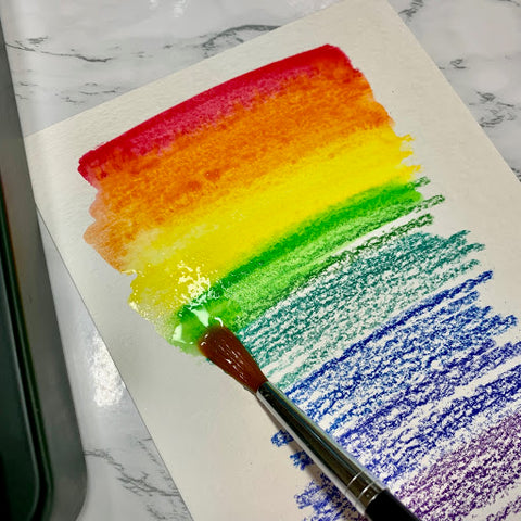 Watercolor Pencil Swatches with Brush
