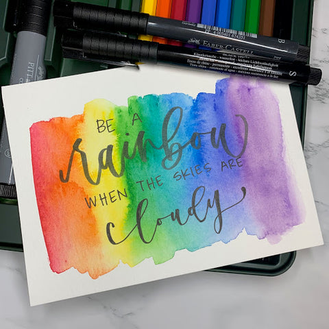 Watercolor Pencil Rainbow and Hand Lettering with Pitt Artist Pen