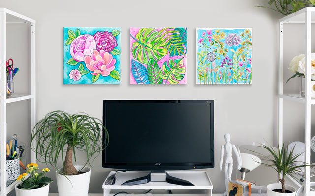 Office space with paint by number canvases
