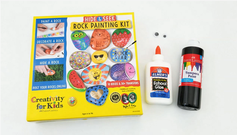 Rock Painting Kit, Glue, and Paint