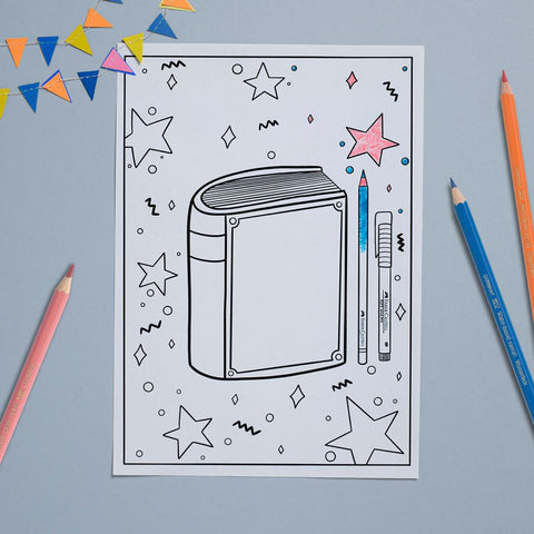 Teachers Day coloring page with color pencils