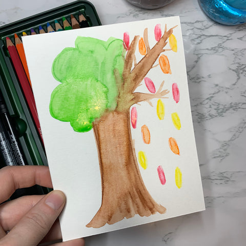 Tree Drawn with Watercolor Pencils