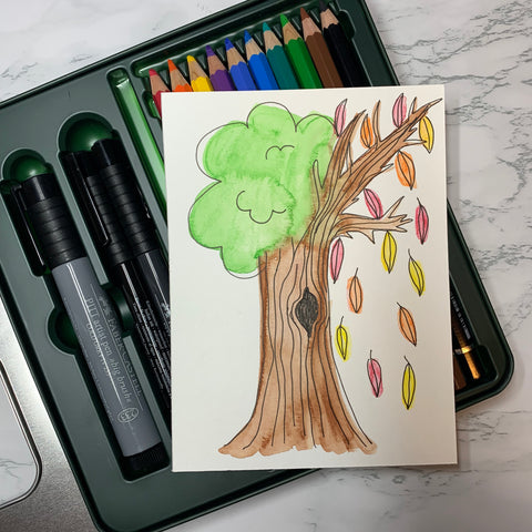 Tree Drawn with Watercolor Pencils and Pitt Artist Pen