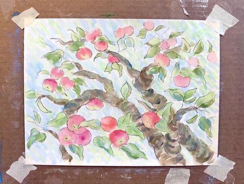 Watercolor apple orchard