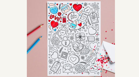 Valentine's Day coloring page and color pencils