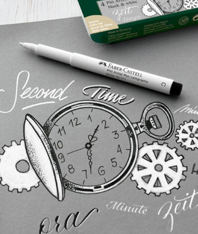 Pocket watch drawn with white Pitt Artist Pen