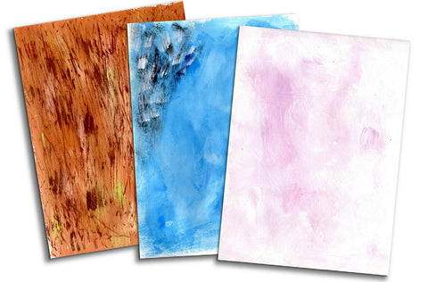 Tree bark paper, bluebird paper, and flower blossom paper