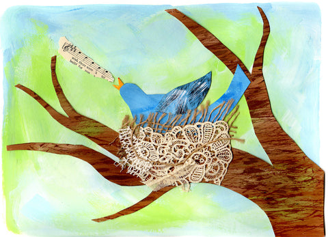 Painted blue bird in nest