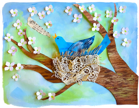 World of Birds art with blue bird in a nest in a tree with flowers and berries