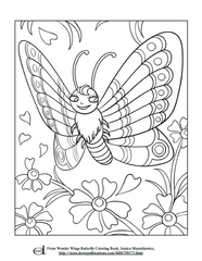 Butterfly and Flower Kids Coloring Page