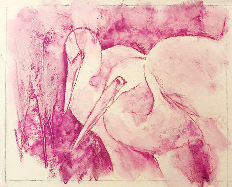 Two pastel egrets