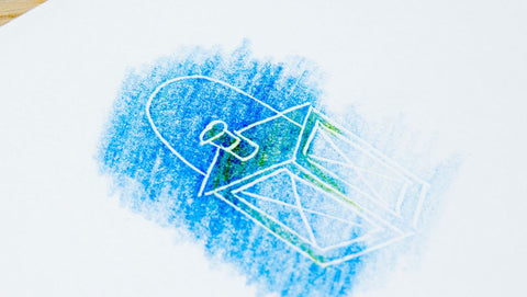 Embossed paper with blue color pencil
