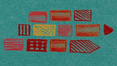 Yellow, red, and orange shapes on colored paper