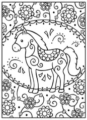 Horse Kids Coloring Page