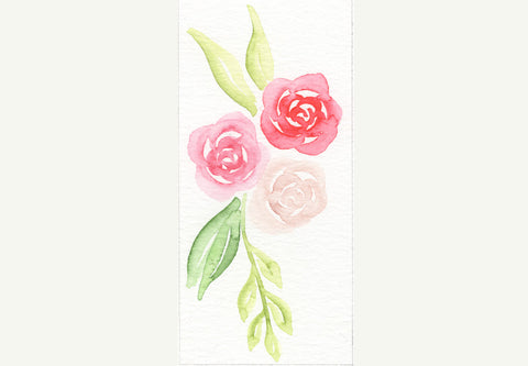 Watercolor roses and leaves