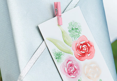 Valentine's Day watercolor rose tag