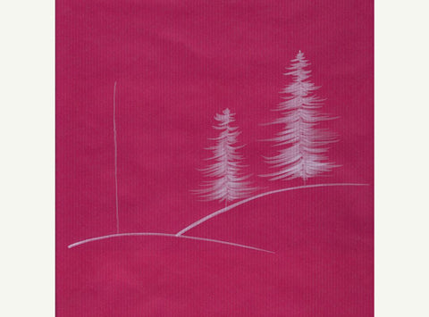 Red wrapping paper with sketched white Christmas trees