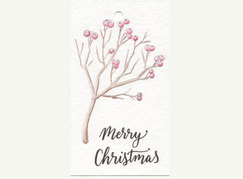 Watercolor branch with berries on gift tag