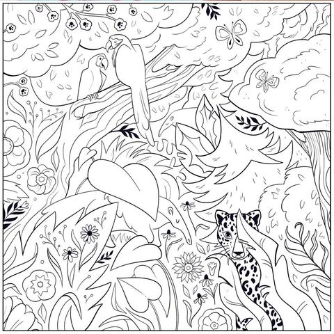 Jaguar and anteater coloring page