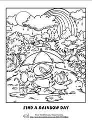 Rainbow Day Kids Coloring Page