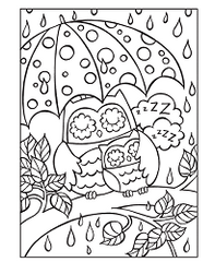 Rainy Owl Kids Coloring Page