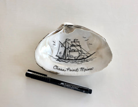 Sea Shell with Ship Drawing and Pitt Artist Pen