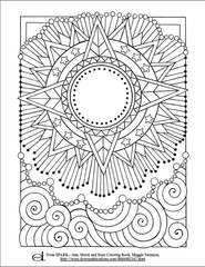 Sun Moon Star Kids Coloring Page