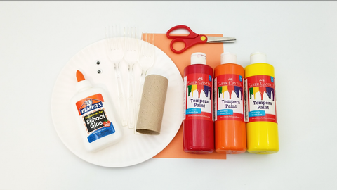 Craft supplies: glue, toilet paper tube, paper plate, construction paper, and three Tempera paints