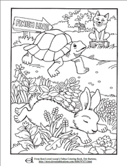 Tortoise and Hare Kids Coloring Page