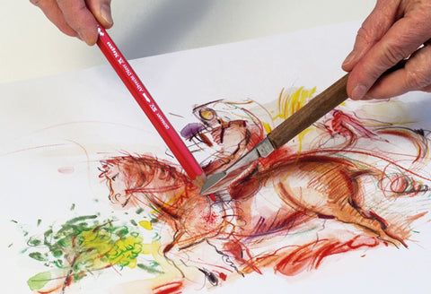 watercolor horse with watercolor pencil and knife